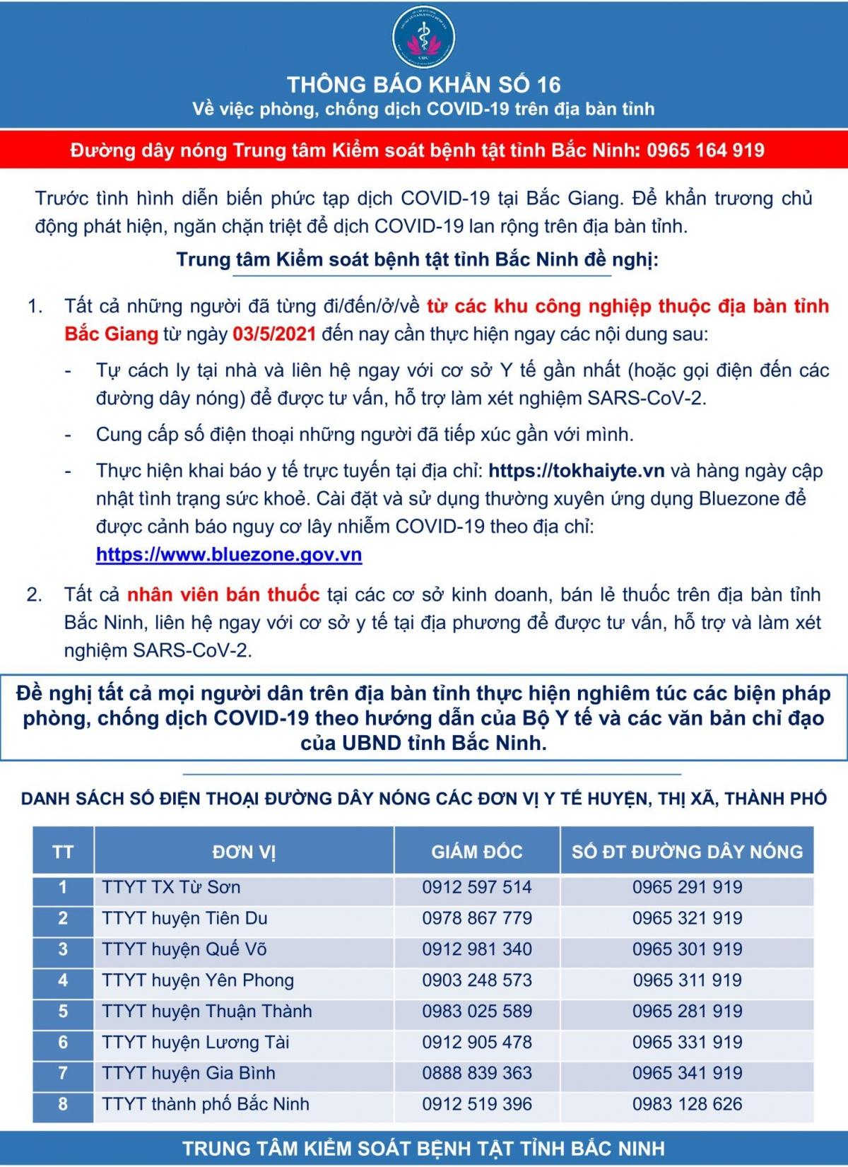 Thông báo khẩn của tỉnh Bắc Ninh đối với các trường hợp liên quan đến ổ dịch KCN ở huyện Việt Yên.