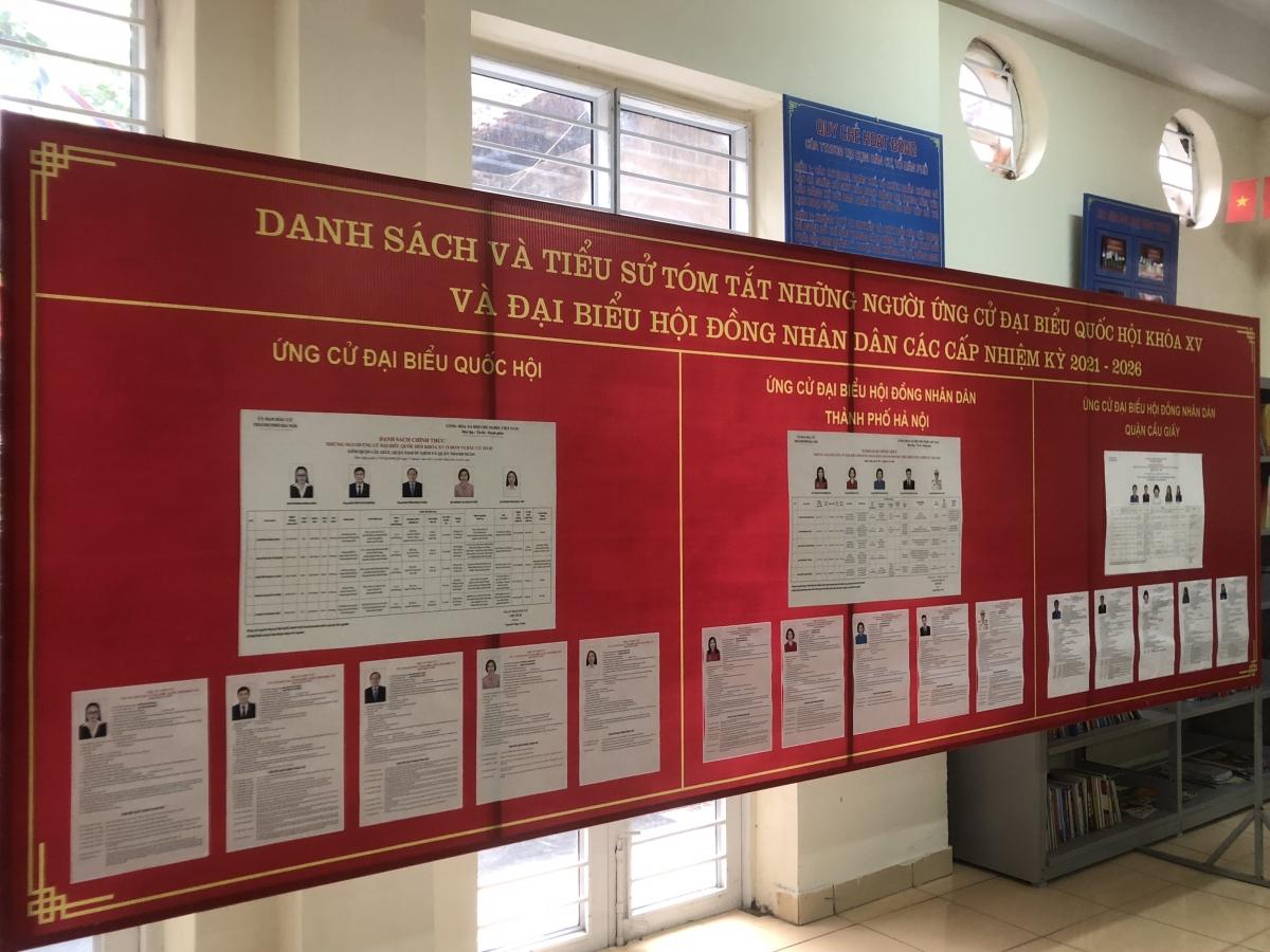 Danh sách người ứng cử đại biểu QH và HĐND các cấp tại phường Trung Hòa, Cầu Giấy.