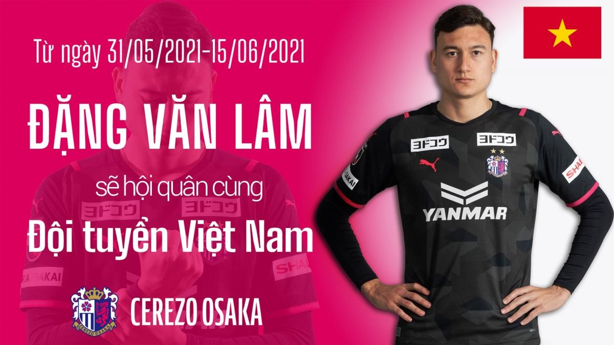 Đặng Văn Lâm sẽ tham dự vòng loại World Cup 2022 cùng ĐT Việt Nam. (Ảnh: Cerezo Osaka)