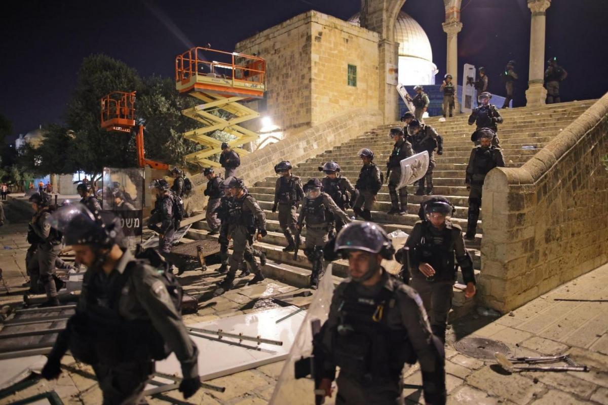 Lực lượng an ninh Israel triển khai tại khu vực đền thờ Al Aqsa ở Jerusalem ngày 10/5/2021. Ảnh: AFP
