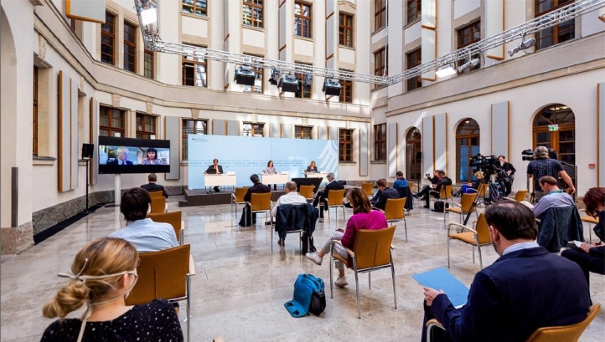 Đối thoại Khí hậu Petersberg năm 2021 diễn ra ngày 6/5 theo hình thức trực tuyến dưới sự chủ trì của Đức và Liên Hợp Quốc. Ảnh: BMU