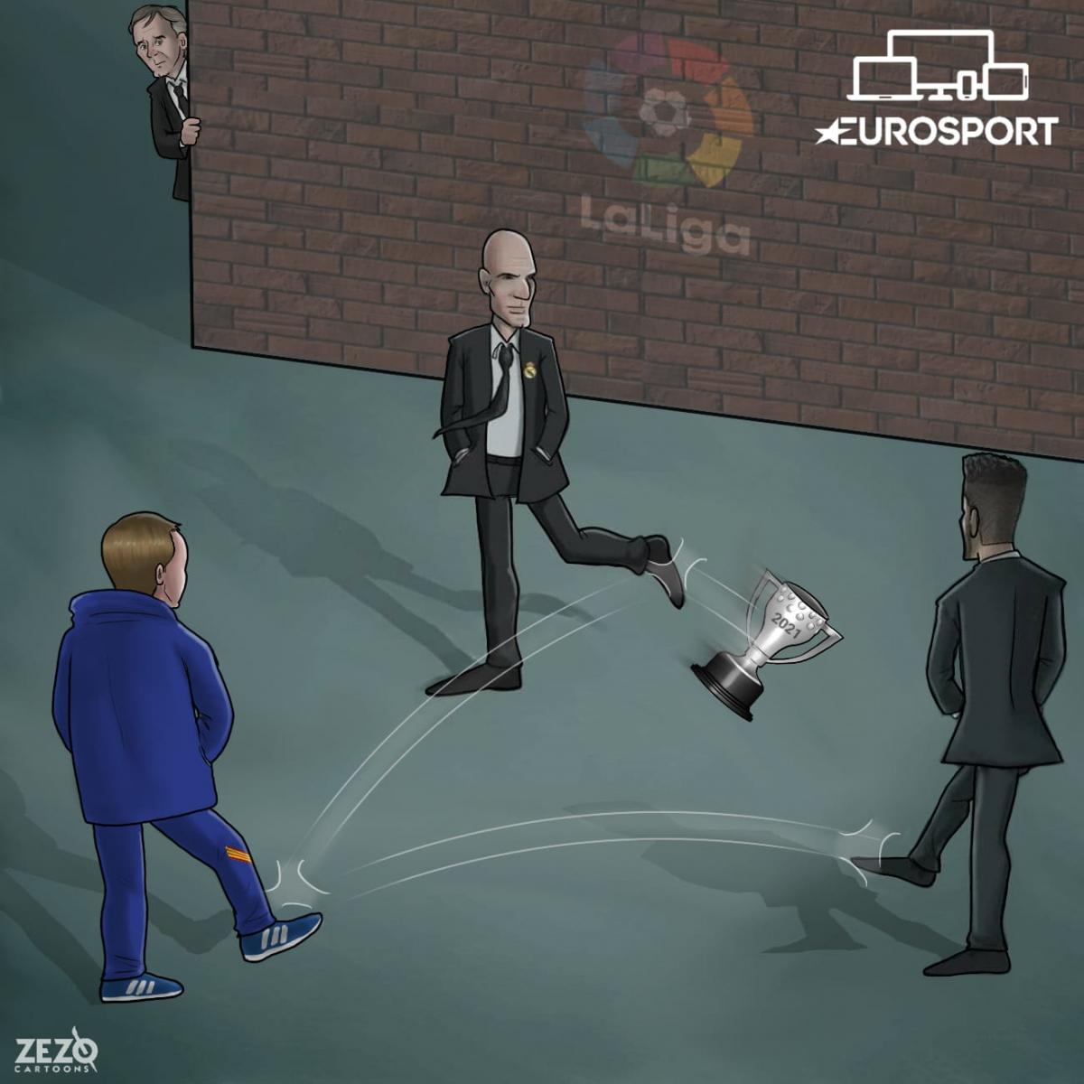 """Barca, Atletico và Real """"nhường nhau"""" chức vô địch La Liga. (Ảnh: Zezo Cartoons)."""