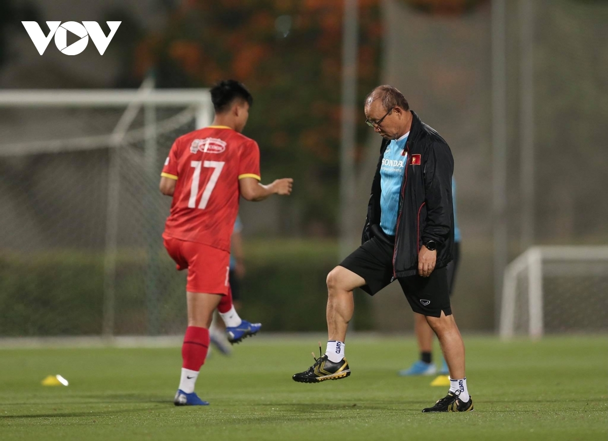 Head coach Park Hang-seo participates in some of the physical training with the team.