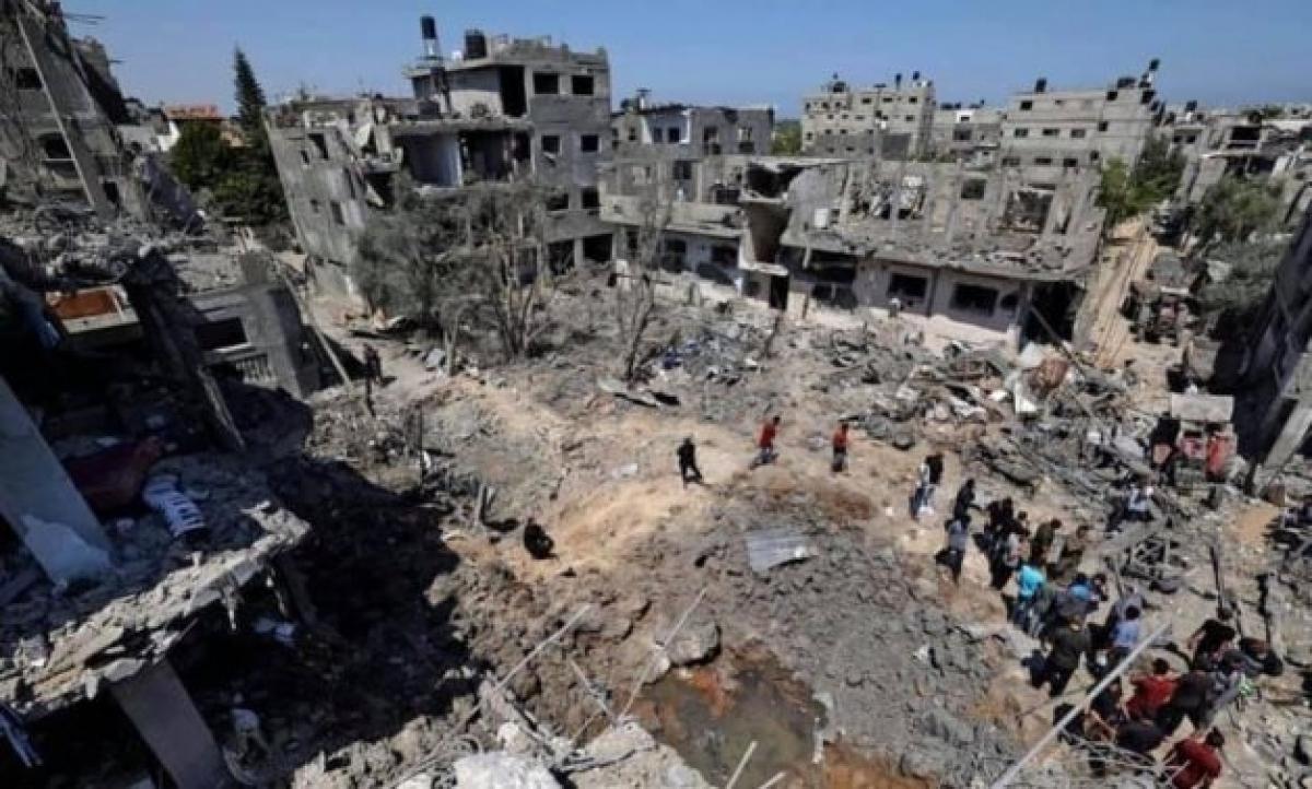 Gaza đổ nát sau khi bị oanh tạc. Ảnh: Egypt Today.