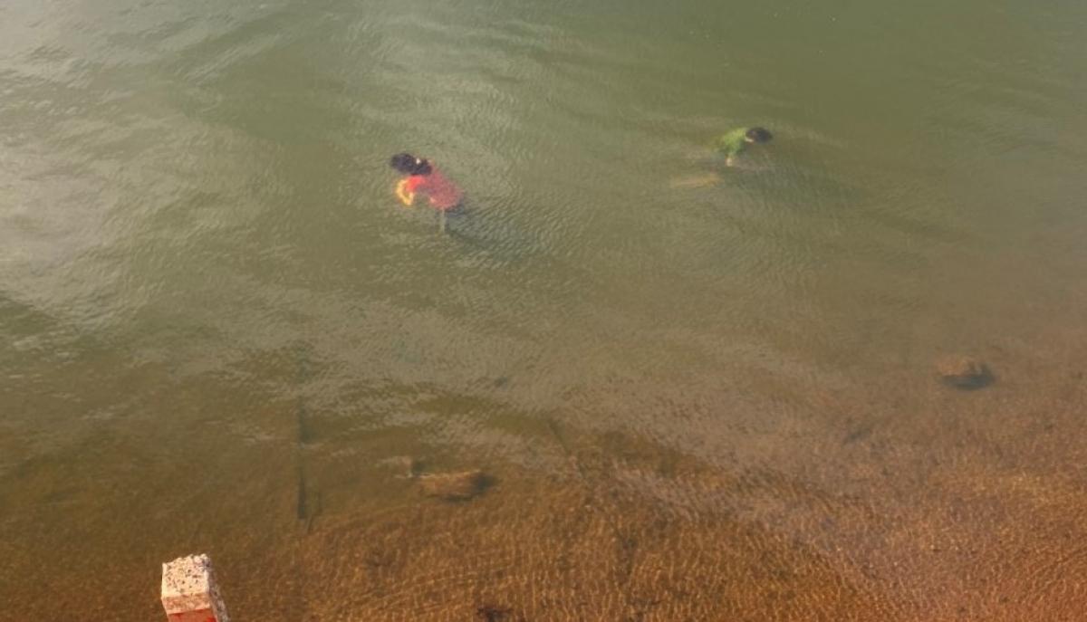 Hồ thủy lợi Drao, nơi hai cháu L và N đuối nước.