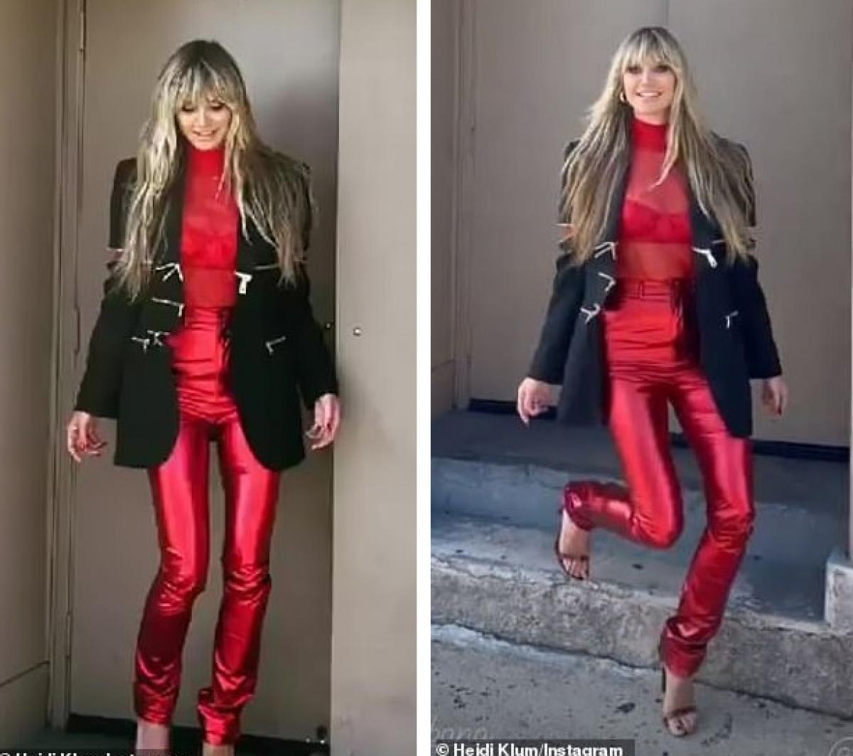 Siêu mẫu 47 tuổi diện bộ đồ đỏ rực, khoe nội y nóng bỏng phối cùng áo khoác gợi cảm.
