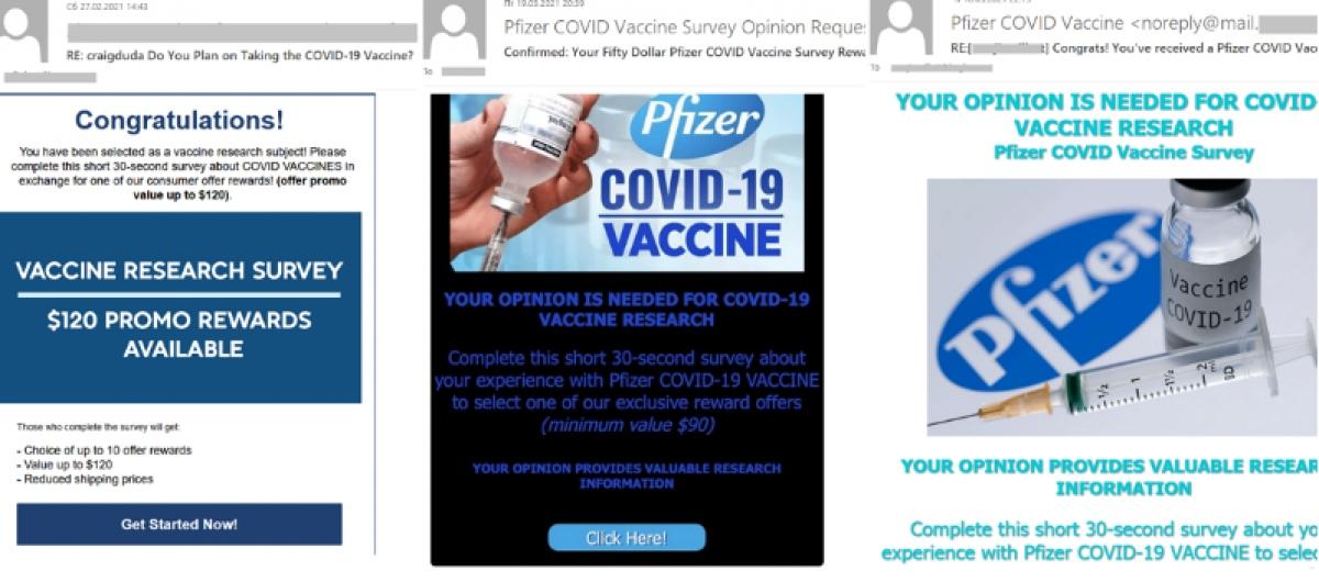 Một ví dụ về email mạo danh các nhà sản xuất vắc-xin.