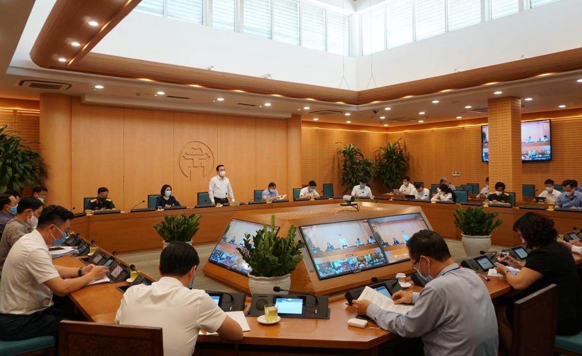 Toàn cảnh cuộc họp chiều 6/5 của BCĐ phòng chống dịch Covid-19 Thành phố Hà Nội.