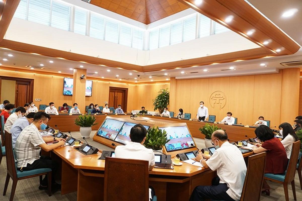 Chủ tịch UBND TP Hà Nội Chu Ngọc Anh chủ trì phiên họp Ban Chỉ đạo phòng, chống Covid-19 thành phố Hà Nội.