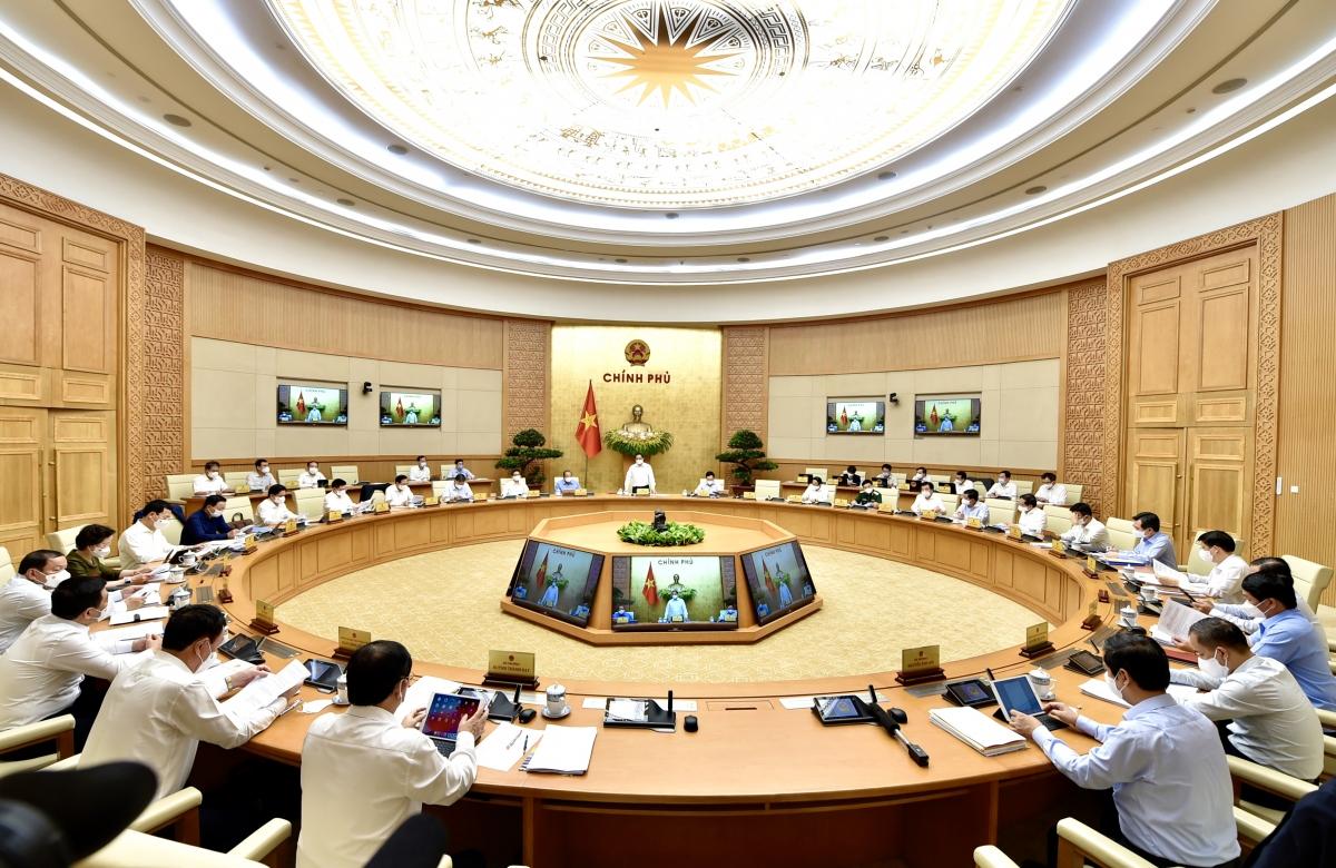 Thủ tướng Chính phủ Phạm Minh Chính chủ trì phiên họp Chính phủ thường kỳ ngày 5/5. Nguồn: Báo điện tử Chính phủ