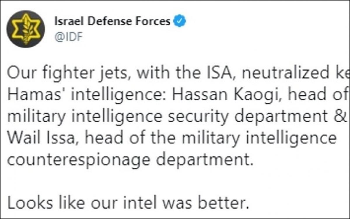 Đoạn tweet của quân đội Israel trên mạng Twitter, thông báo về việc họ đã hạ được 2 thủ lĩnh tình báo của Hamas.