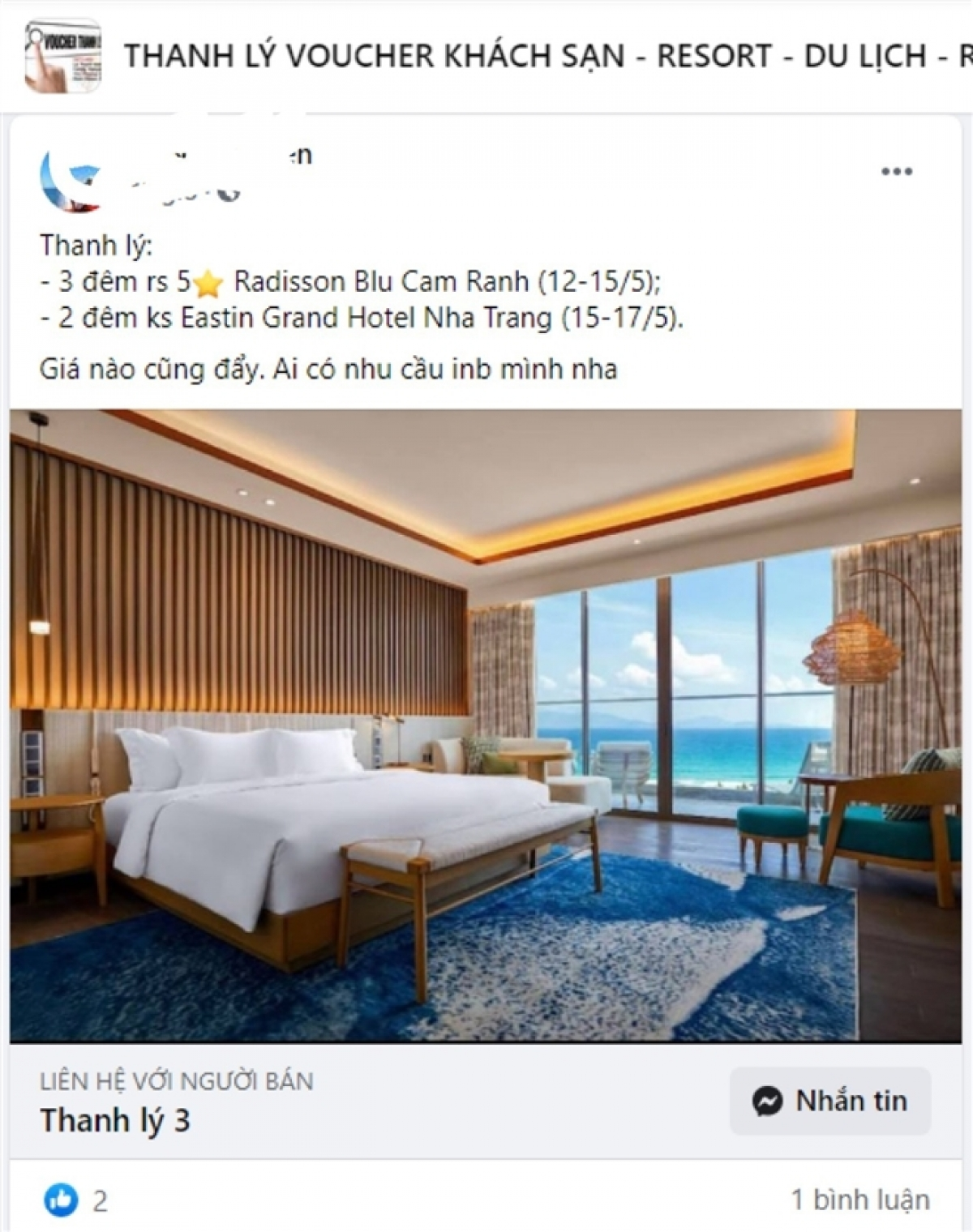 """Gần đến hạn sử dụng nên voucher khách sạn 5 sao này được chủ nhân rao bán với lời hứa hẹn """"Giá nào cũng đẩy"""". (Ảnh chụp màn hình)."""