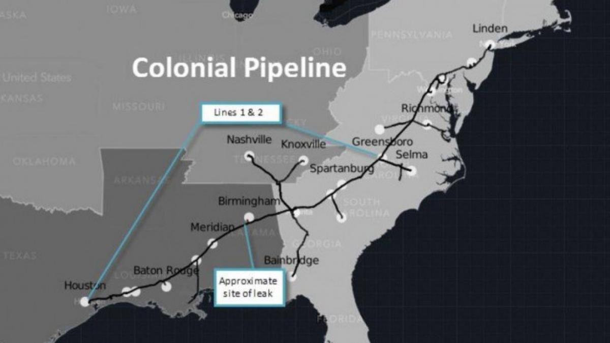 Bản đồ đường ống cung cấp xăng dầu của công ty Colonial Pipeline trải dài bờ biển miền Đông nước Mỹ.
