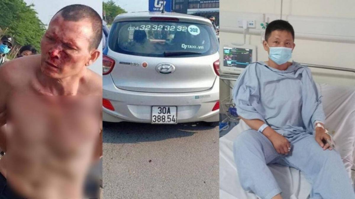 Tài xế Minh đang được điều trị tại bệnh viện sau khi bị tên cướp dùng dao đâm trúng ngực.