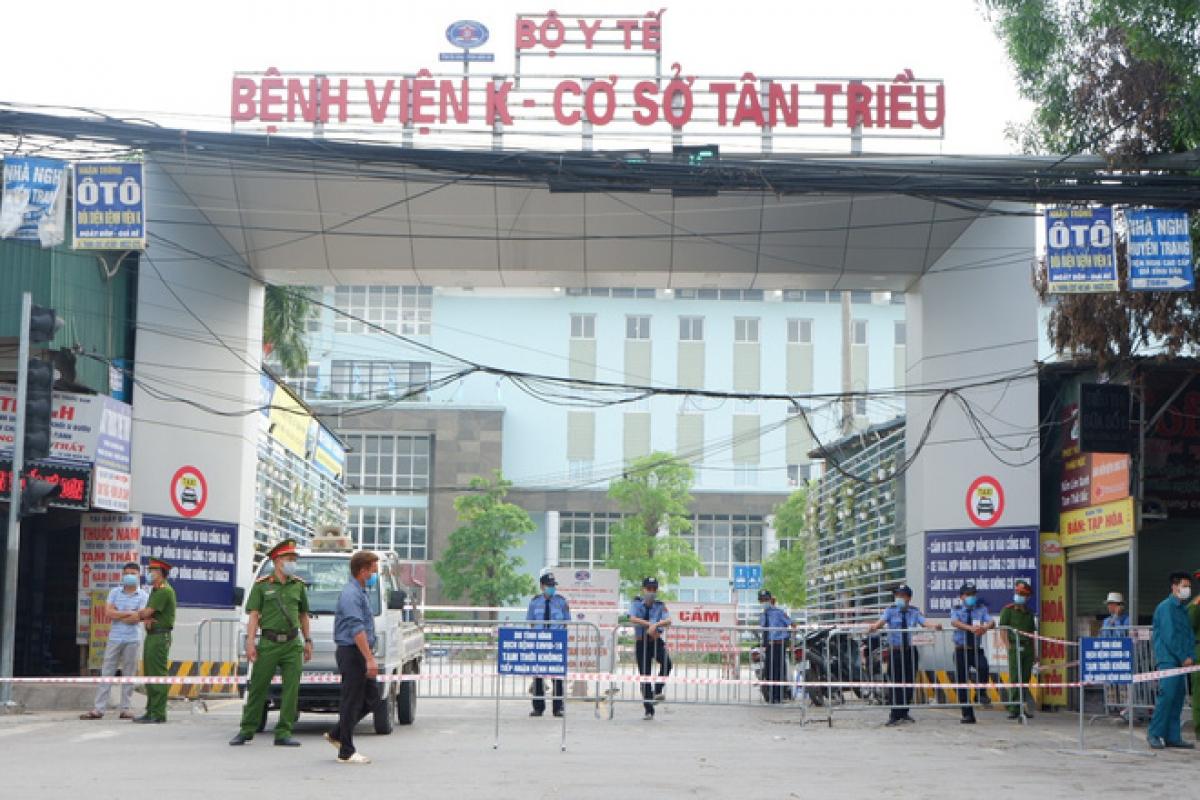 Bệnh viện K cơ sở Tân Triều đã tạm thời phong tỏa sáng 7/5 sau khi phát hiện có ca mắc Covid-19.