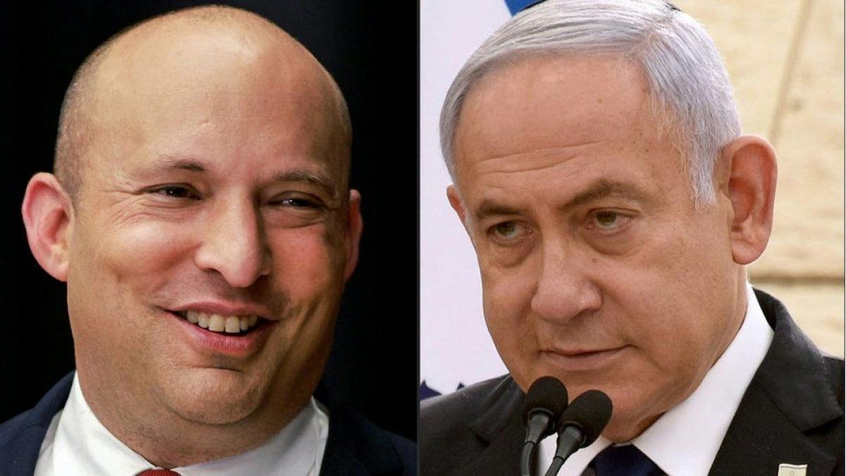 Lãnh đạo đảng Yamina Naftali Bennett (bên trái) tuyên bố tham gia thành lập chính phủ liên minh. Ảnh: BBC