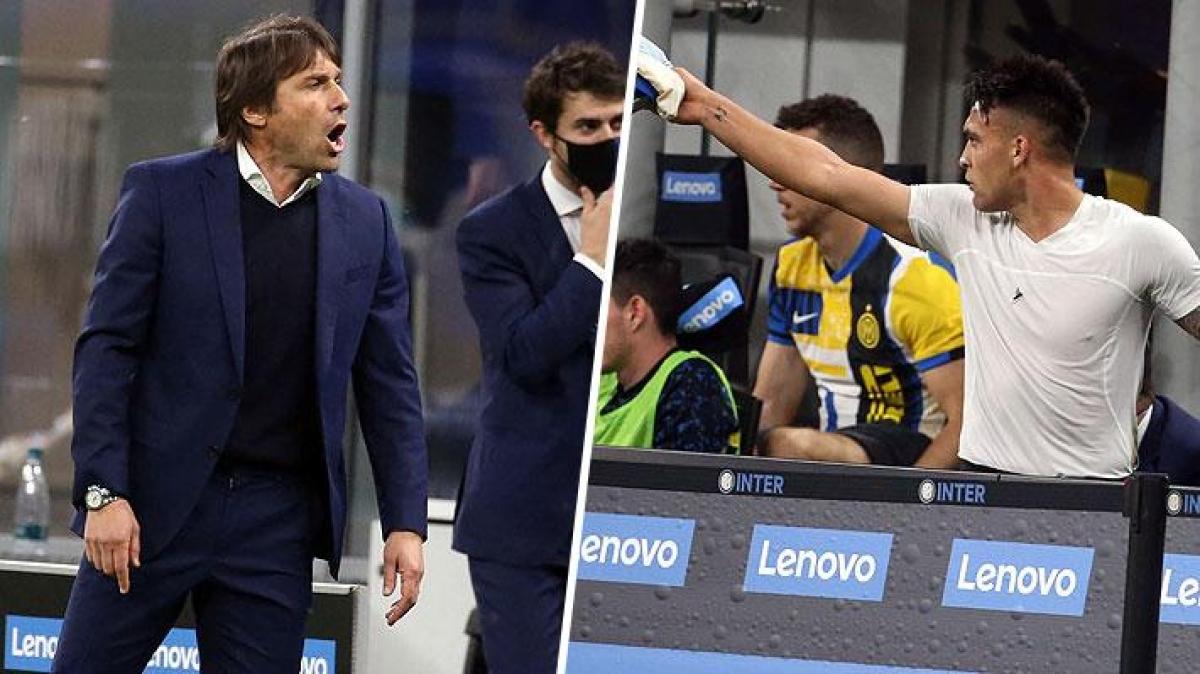HLV Antonio Conte và Lautaro Martinez cãi vã trên sân. (Ảnh: Marca)