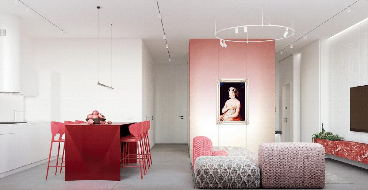 Trái ngược với nội thất mang hơi thở đương đại, khugn tranh mạ vàng cổ điển dành để trưng bày tác phẩm nghệ thuật của nghệ sĩ người Ý Slasky, người làm cầu nối giữa truyền thống và hiện đại.