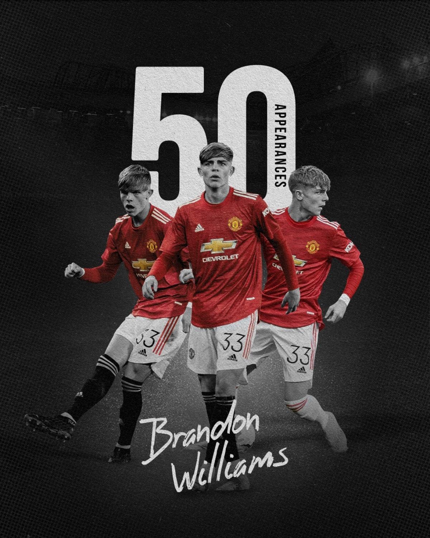 Brandon Williams cán mốc 50 lần ra sân cho MU. (Ảnh: MUFC)