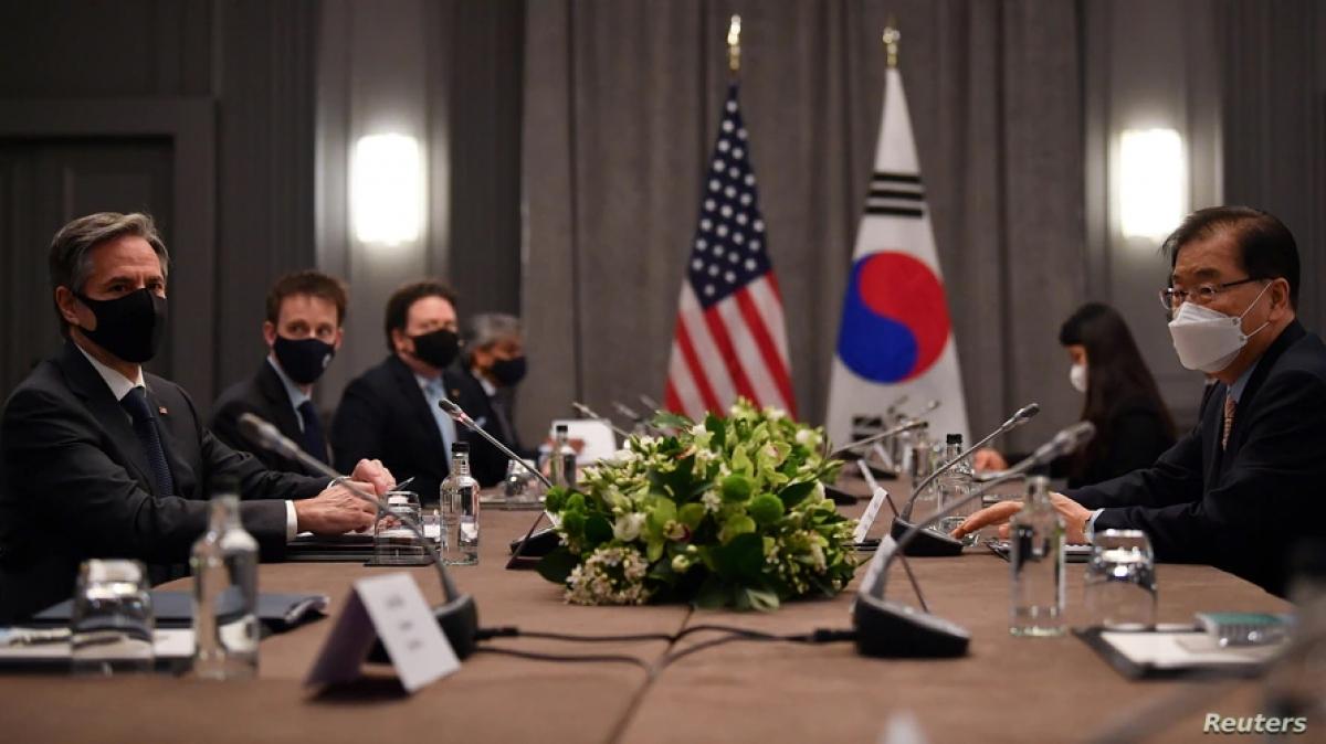 Hai bên thống nhất hợp tác để tổ chức thành công Hội nghị thượng đỉnh Hàn-Mỹ vào ngày 21/5 sắp tới. Ảnh: Reuters.