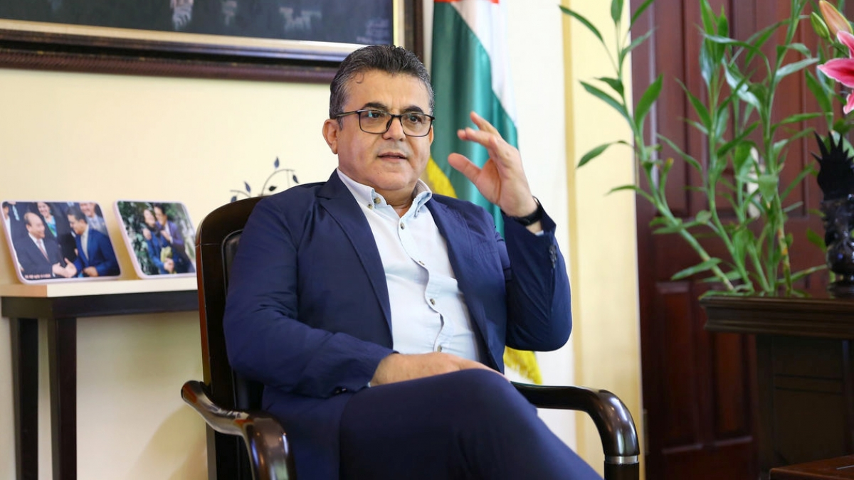 Đại sứ Palestine Saadi Salama (Ảnh: VTC)