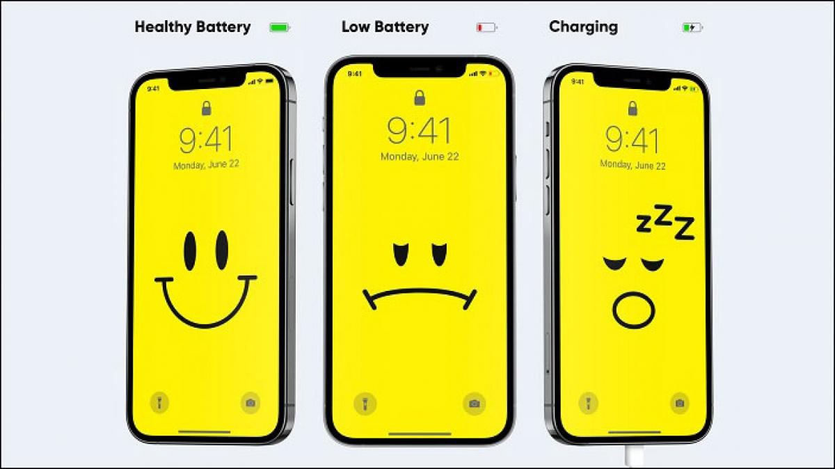 Một giao diện khác của Ben Vessey thể hiện dung lượng còn lại của pin iPhone.