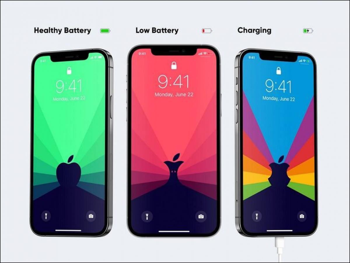 3 trạng thái của trình bảo vệ màn hìnhBen Vessey thông báo dung lượng của pin iPhone.