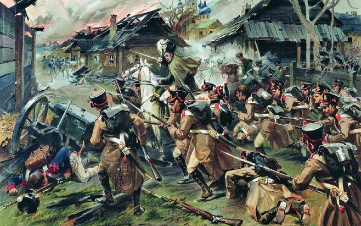 Trận chiến Maloyaroslavets vào ngày 24/10/1812. Tranh: Nikolay Samokish.