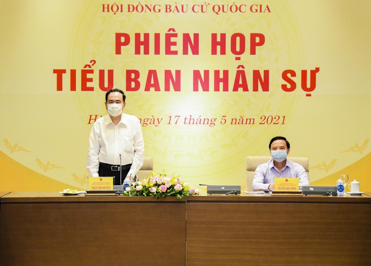 Phó Chủ tịch Thường trực Quốc hội, Phó Chủ tịch Thường trực Hội đồng bầu cử quốc gia, Trưởng Tiểu ban Nhân sự Trần Thanh Mẫn phát biểu