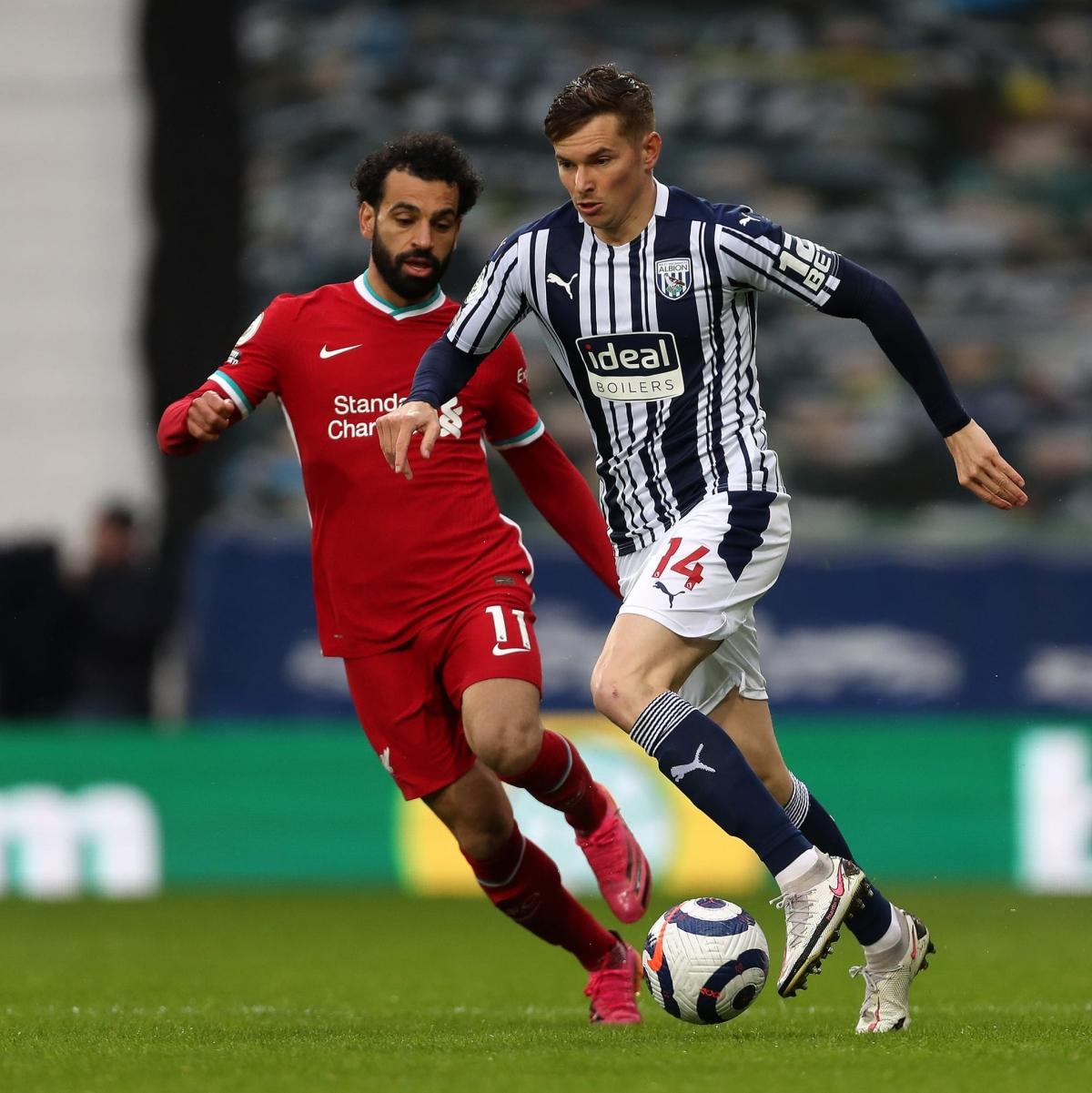 Salah và Liverpool đang làm tất cả để có thể giành chiến thắng trước West Brom. (Ảnh: Getty).