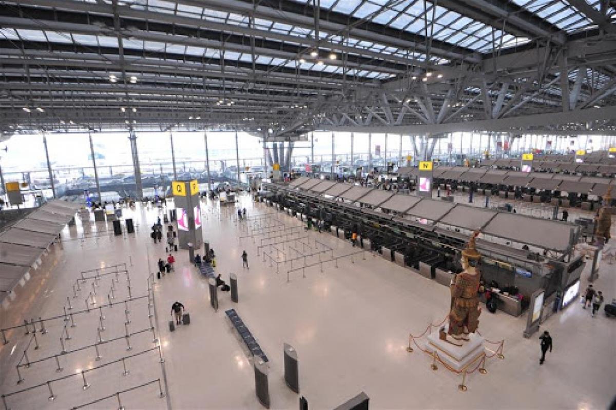 Sân bay Suvarnabhumi ở thủ đô Bangkok, Thái Lan ngày 16/3/2020. Ảnh: Tân hoa xã