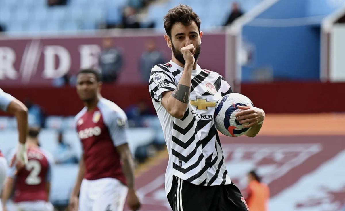 Bruno mở đầu cho màn lội ngược dòng của MU trước Aston Villa. (Ảnh: Getty).