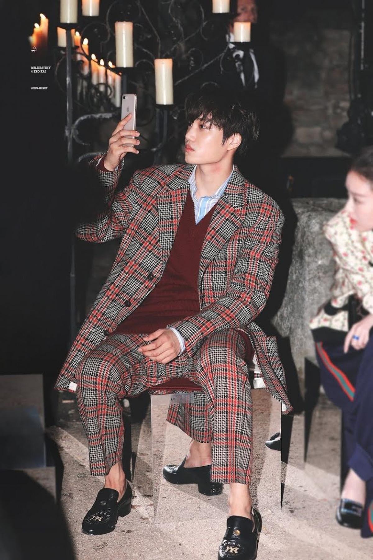 Thành viên nhóm nhạc EXO, Kai từng được ngồi ở hàng ghế đầu trong một show diễn của GUCCI.