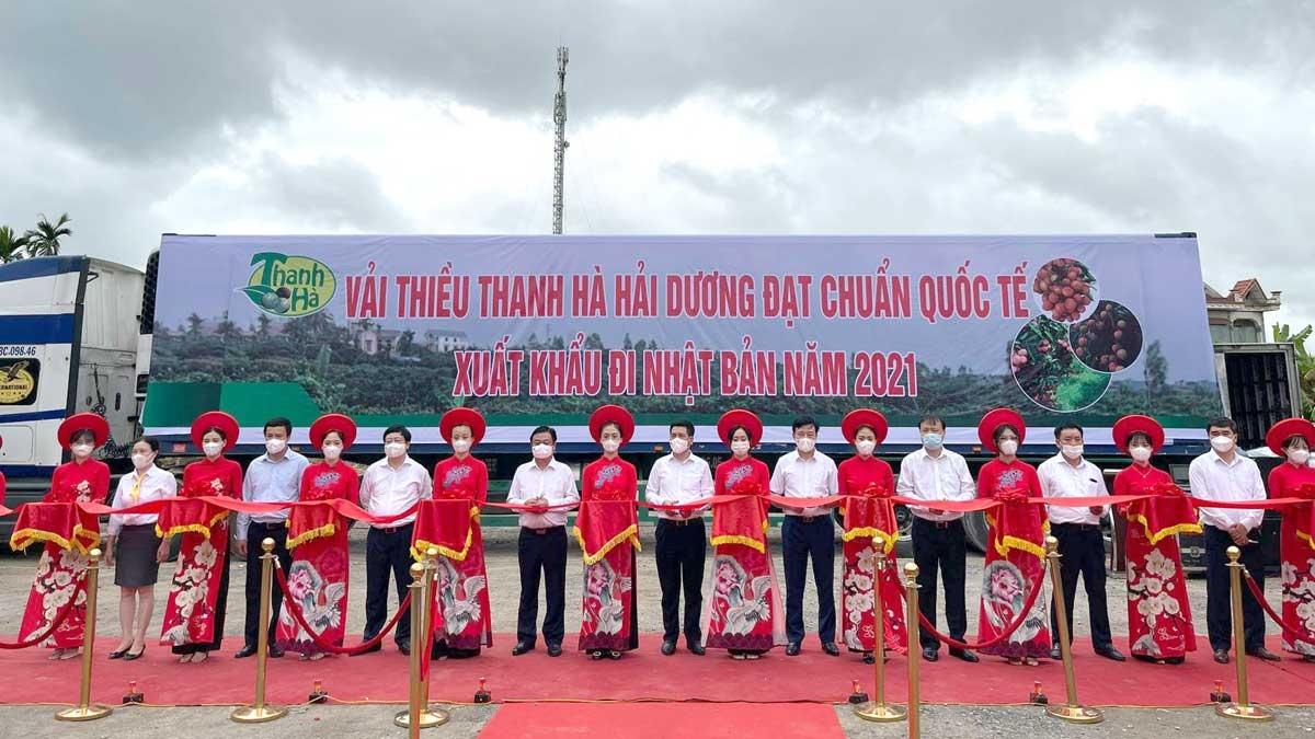 Lễ mở vườn thu hoạch, tiêu thụ vải thiều Thanh Hà năm 2021.