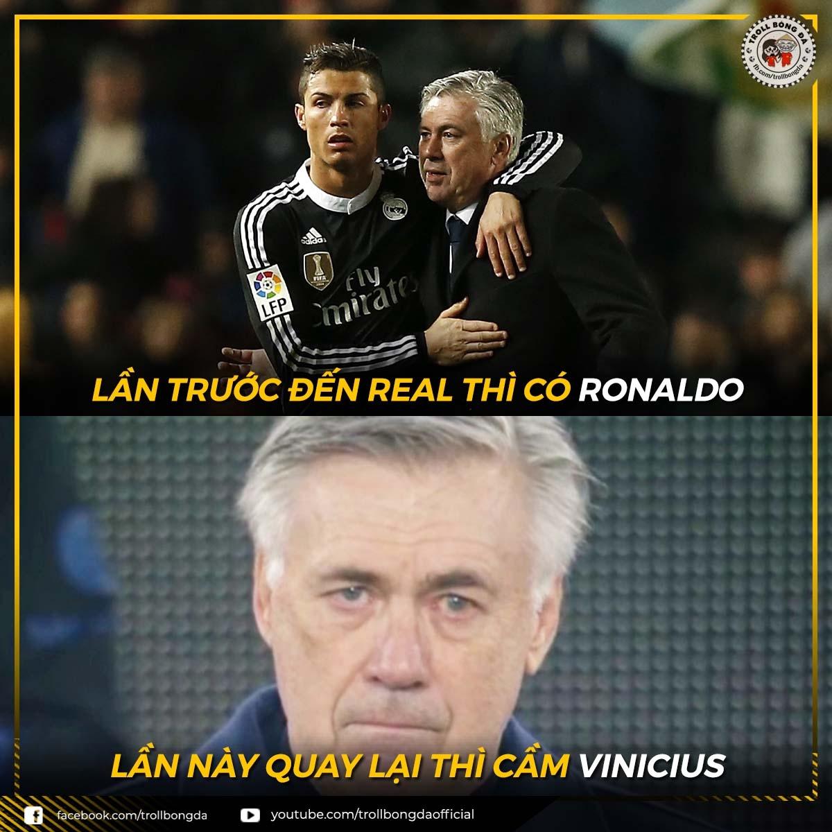 """Sự thật """"phũ phàng"""" mà HLV Ancelotti phải đón nhận khi trở lại Real Madrid. (Ảnh: Troll bóng đá)."""