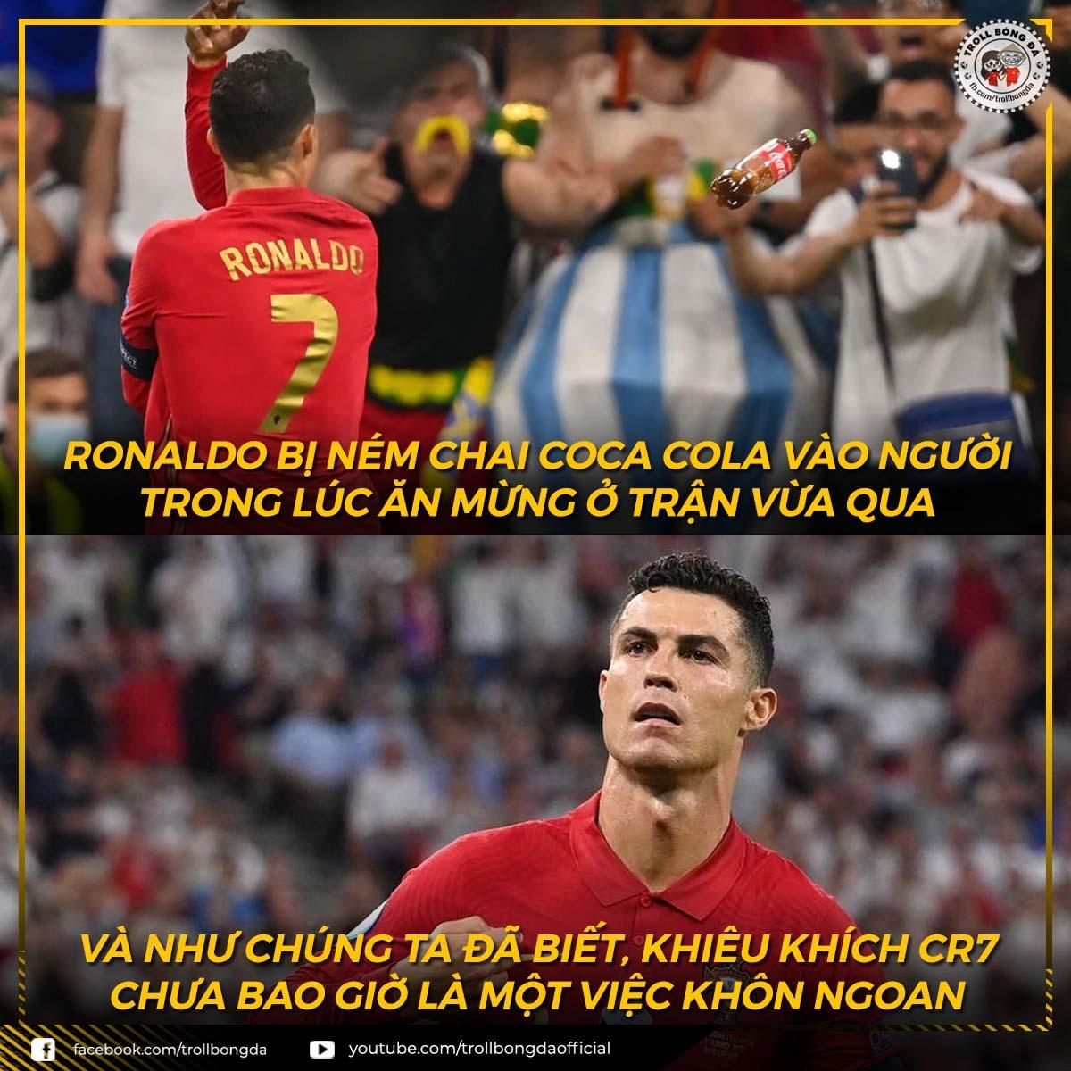 Ronaldo bị ném chai coca vào người khi ăn mừng bàn thắng trước ĐT Pháp (Ảnh: Troll bóng đá).