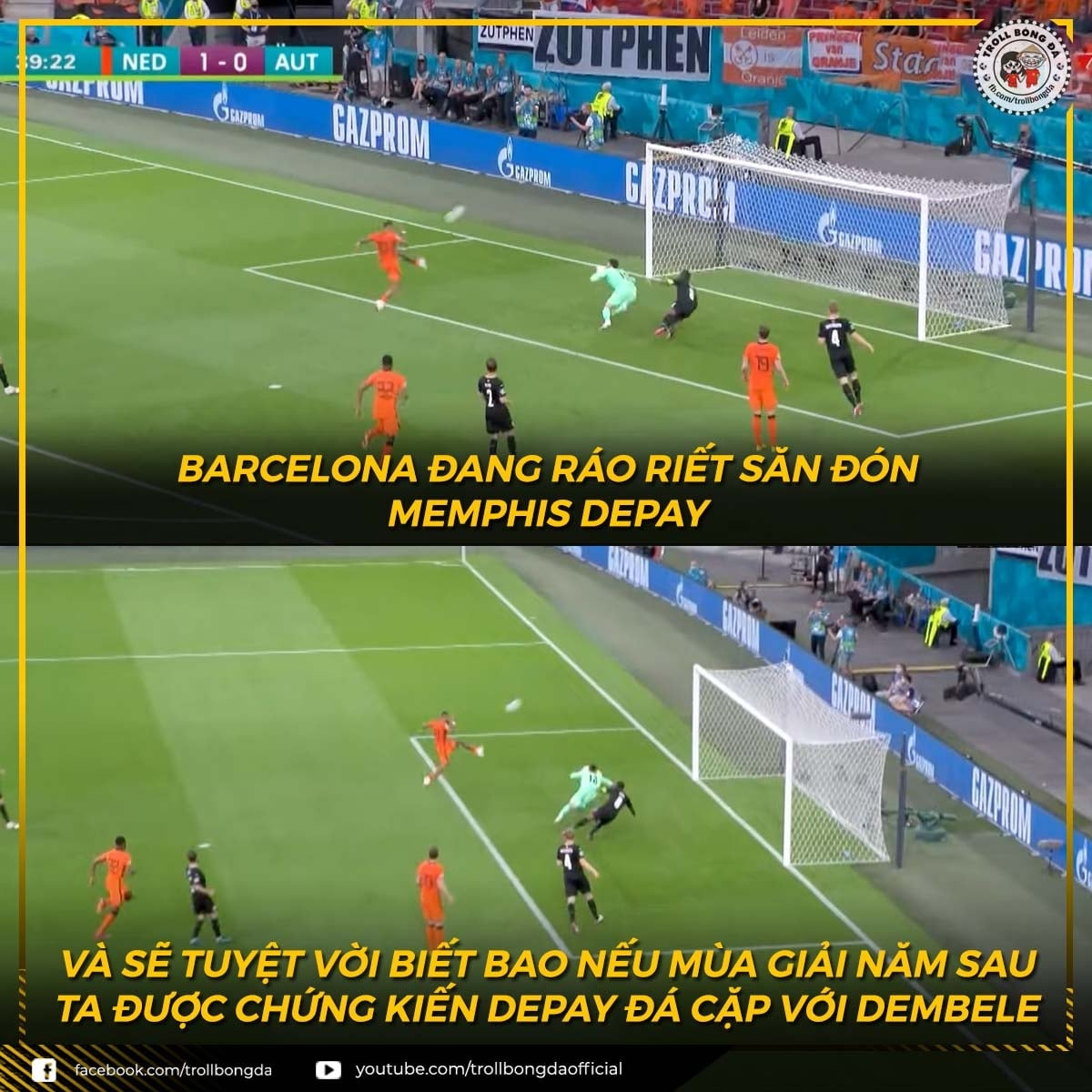 """Depay chứng tỏ anh """"xứng đáng"""" để gia nhập Barca mùa tới (Ảnh: Troll bóng đá)."""