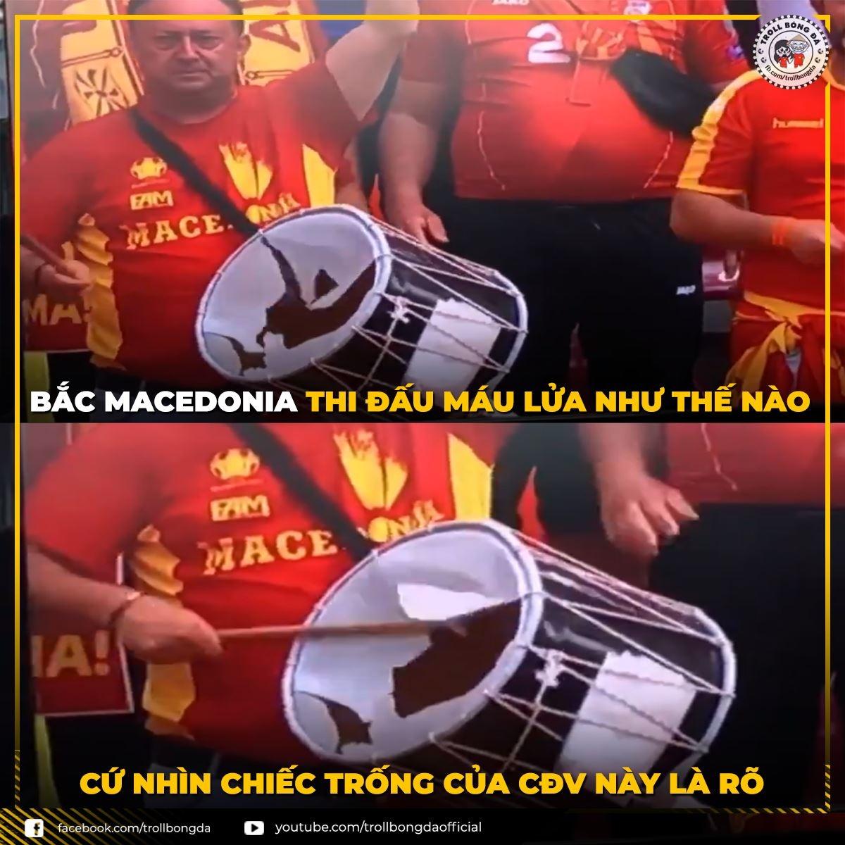 CĐV Bắc Macedonia cổ động thủng cả trống tại EURO 2021. (Ảnh: Troll bóng đá).