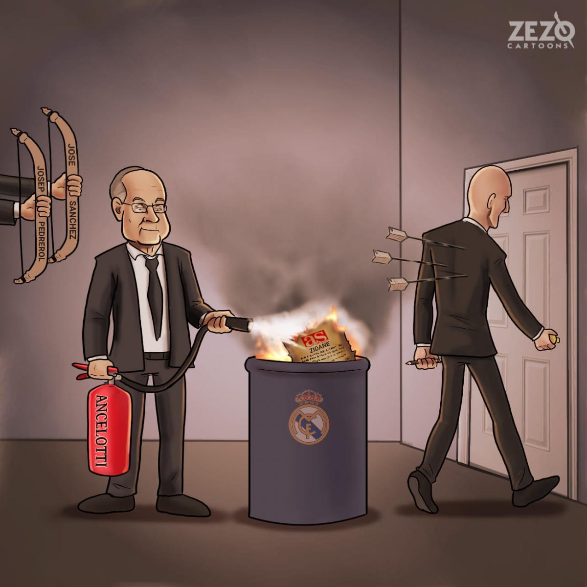 """HLV Zidane rời Real Madrid, Chủ tịch Perez """"chữa cháy"""" bằng HLV Ancelotti. (Ảnh: Zezo Cartoons)."""