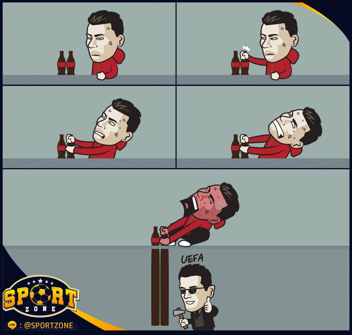"""UEFA cảnh báo những cầu thủ """"học theo"""" Ronaldo. (Ảnh: Zezo Cartoons)."""