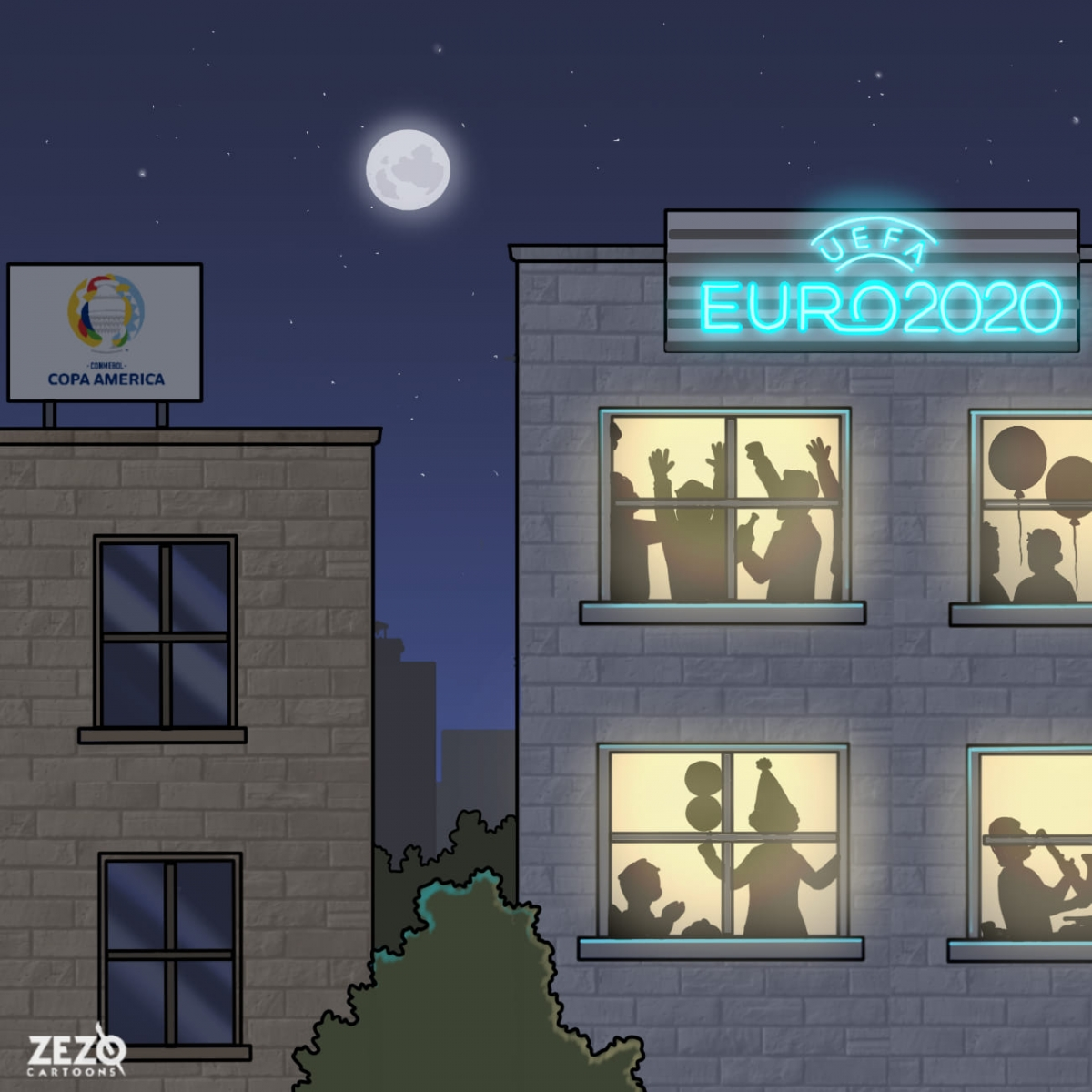 "EURO 2021 làm ""lu mờ"" Copa America 2021 (Ảnh: Zezo Cartoons)."