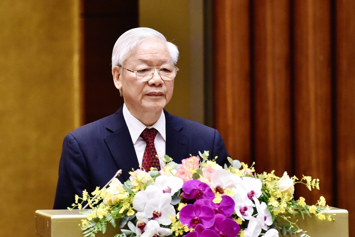 Tổng Bí thư Nguyễn Phú Trọng phát biểu tại Hội nghị toàn quốc sơ kết 5 năm thực hiện Chỉ thị số 05 của Bộ Chính trị