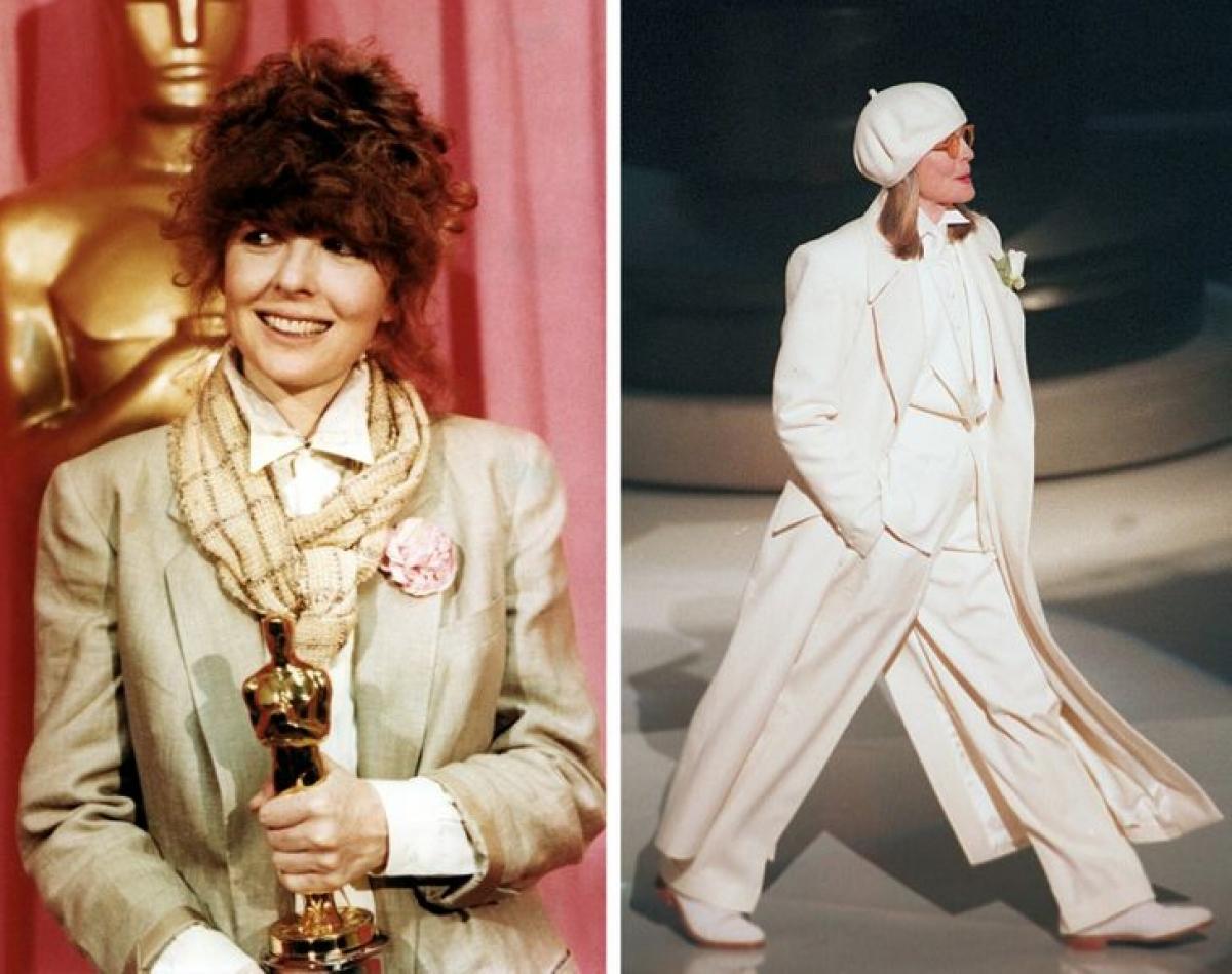 """Diane Keaton đã nhiều lần được nhìn thấy mặc quần dài thay vì áo choàng tại các lễ trao giải.Lần đầu tiên là vào năm 1978. Sau đó, cô đã giành được giải Oscar cho tác phẩm của mình trong bộ phim """"Annie Hall"""".Năm 1993, cô mặc thêm một chiếc áo khoác dài."""