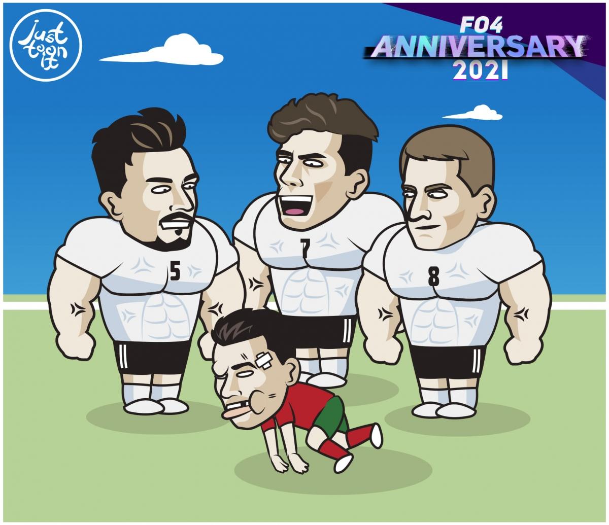"""Cristiano Ronaldo """"bầm dập"""" vì đọ sức với tuyển Đức. (Ảnh: Just Toon It)"""