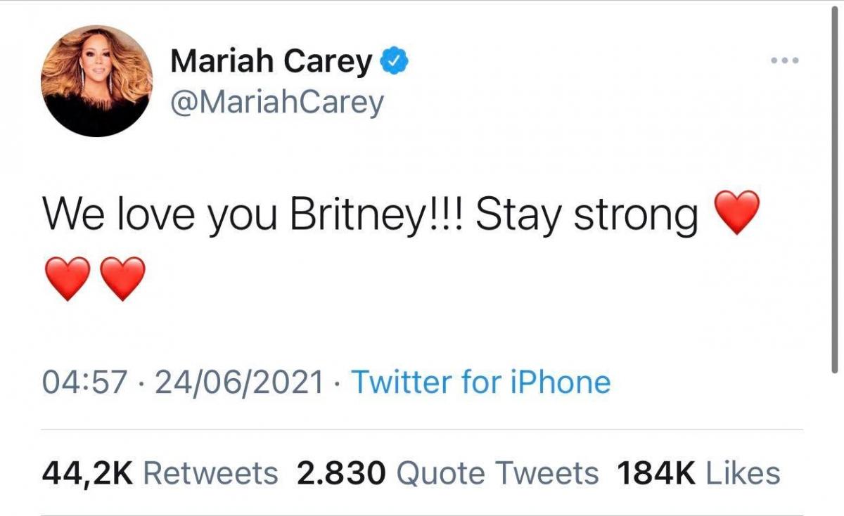 Nữ ca sĩ Mariah Carey ủng hộ Britney.