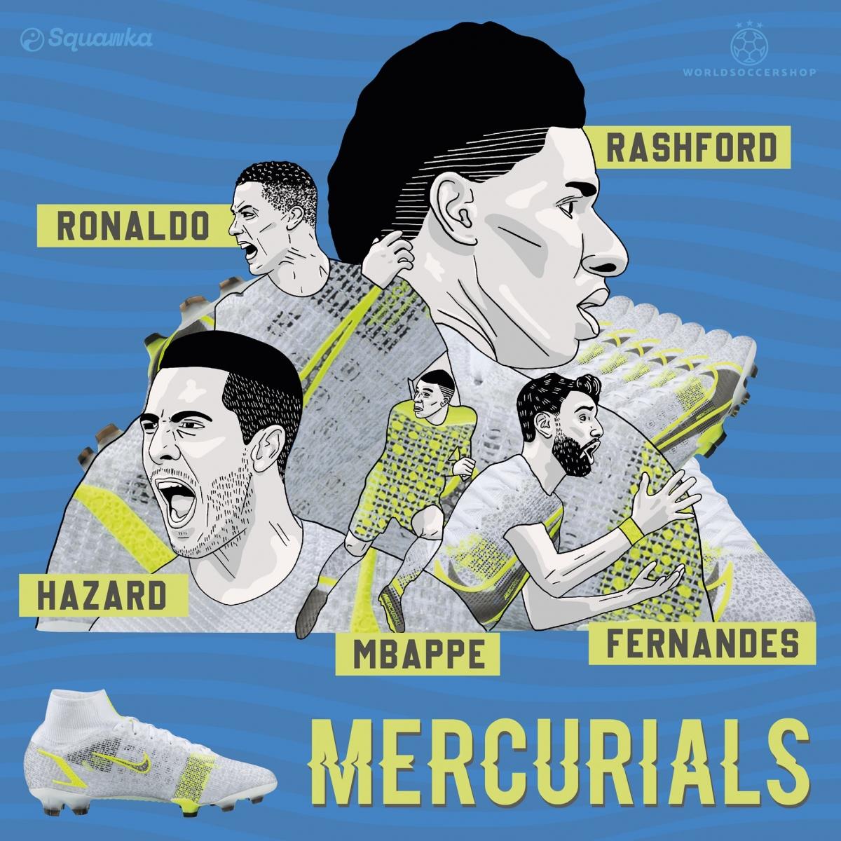 Những ngôi sao dùng mẫu giày Mercurial tại EURO 2021. (Ảnh: Squawka)