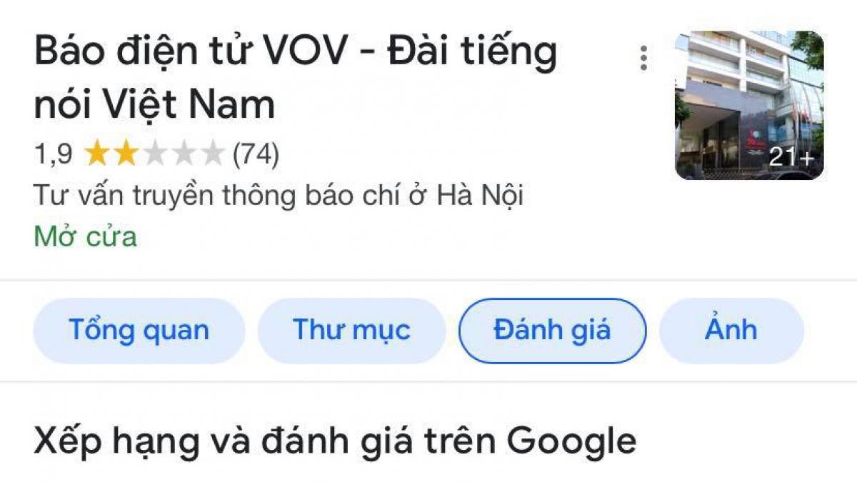 """Các đối tượng đã sử dụng nhiều tài khoản khác nhau vào """"đánh giá"""" trên Google Maps để giảm uy tín của Đài Tiếng nói Việt Nam."""
