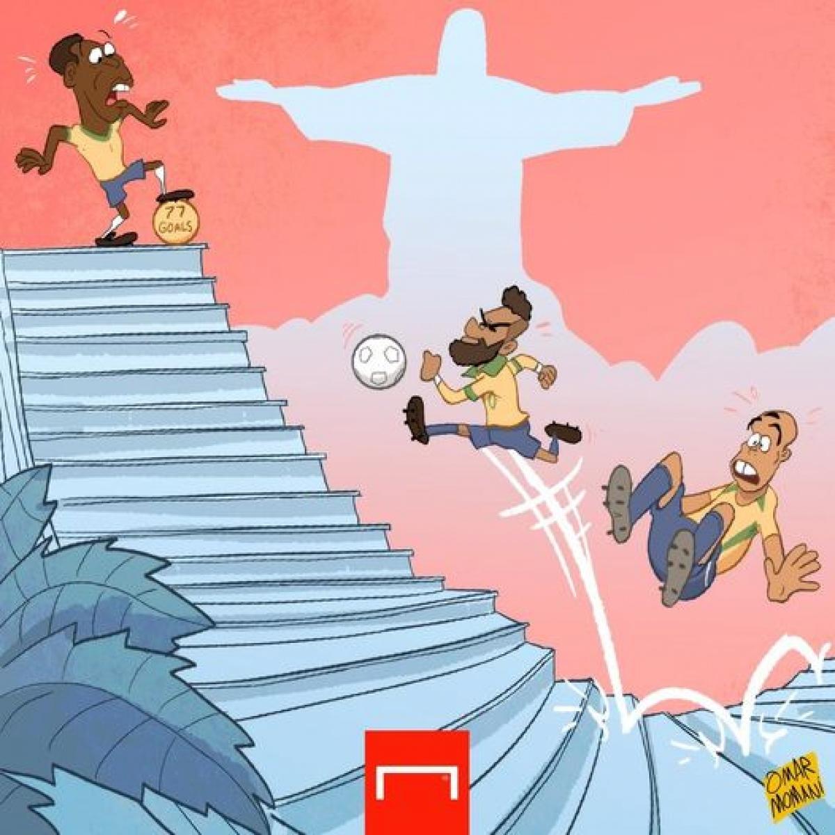 Neymar tiến sát kỷ lục ghi bàn cho ĐT Brazil của Vua bóng đá Pele. (Ảnh: Omar Momani)