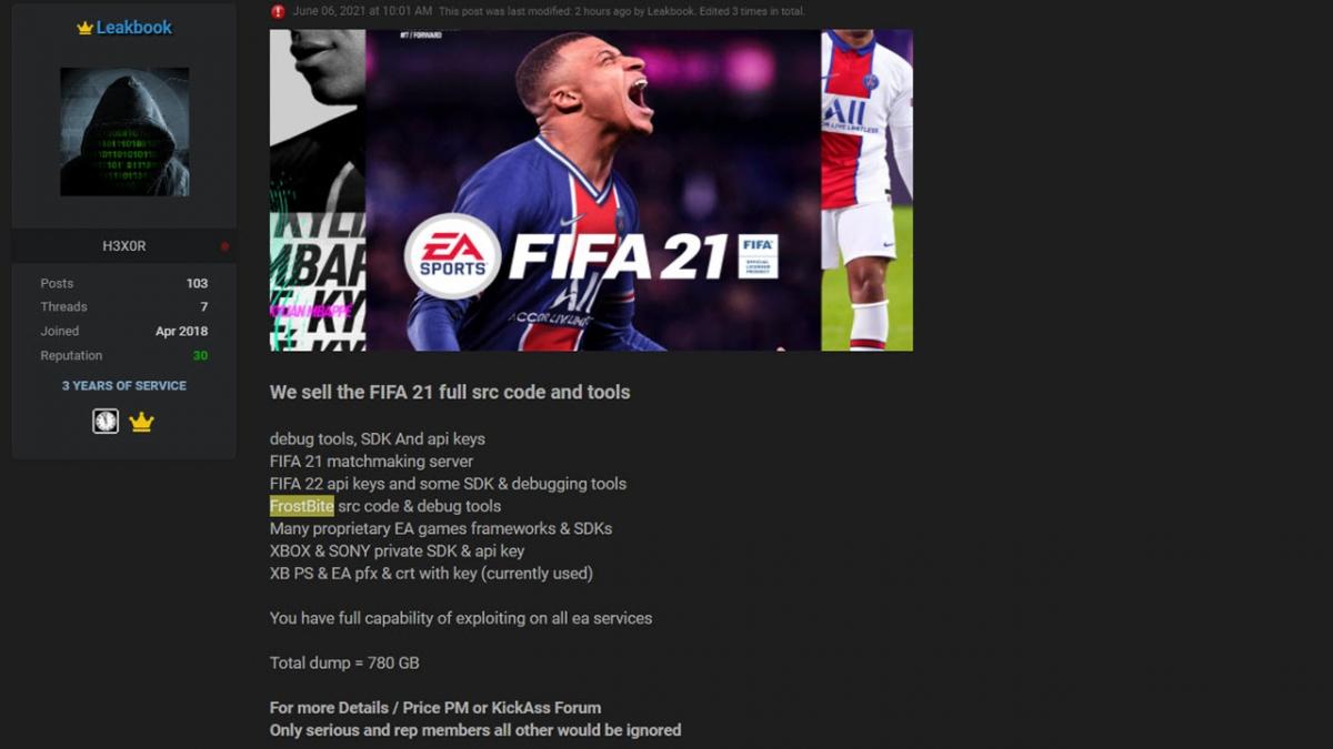 Hackerrao bán mã nguồn của Electronic Arts trên diễn đàn hoạt động ngầm của giới tin tặc.