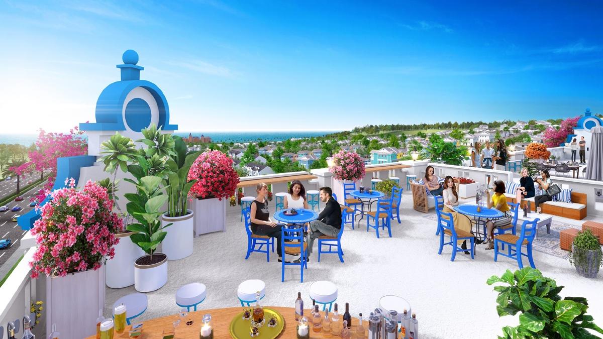 Bên cạnh mặt bằng tầng trệt, nhà đầu tư có thể sử dụng tầng thượng với view biển tuyệt đẹp để kinh doanh thêm các dịch vụ khác và phát huy hết công năng của boutique hotel. (Ảnh phối cảnh Boutique hotel NovaWorld Phan Thiet).